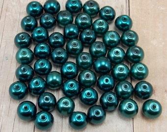 8mm Glass Pearls - Dark Teal Blue - 50 pieces - Peacock - Deep Ocean