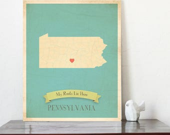Pennsylvania Roots Map 11x14 Customized Print, Pensylvania State Map, Pensylvania Wall map, Pensylvania custom map, Map of pensylvania