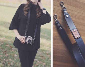 Custom Camera Strap, leather camera strap, camera strap, personalized, dslr camera, Choose text, name, initials, Black, Brown, plain elegant