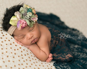Green Forest Stretch Lace Wrap Newborn Photography Prop Baby Swaddle