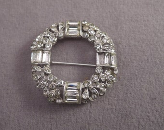 Signed Ledo Clear Rhinestone Circle Pin c1950s