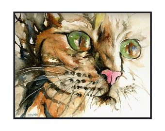 Watercolor Tiger Cat Cards Cat Prints Pet Cards Gift Box Cat Lover Stocking Stuffer