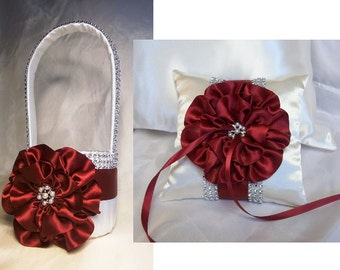Ivory Flower Girl Basket and matching Ring Bearer Pillow with Apple Red Satin Trim and Rhinestone Mesh handle and Trim
