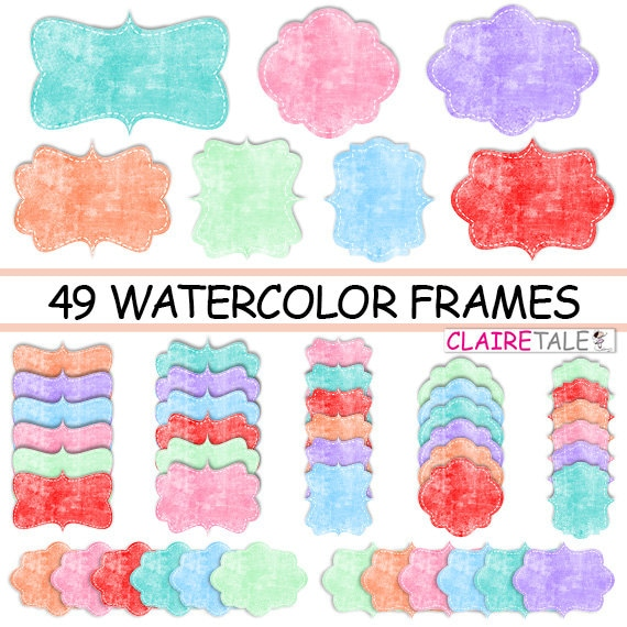 "Watercolor clipart tags: ""WATERCOLOR FRAMES"" colourful clipart frames, labels, tags - pink, red, blue, mint, coral, aqua blue, purple tags"