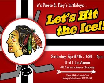 Blackhawks themed customized Birthday invitation