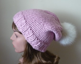 Knit Slouch Hat Faux Fur Pompom Warm Wool Blend Winter Hat in Pink Blossom with White Pompom - Ready to Ship - Gift for Her