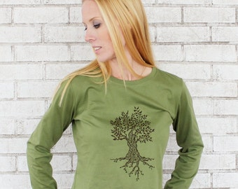 Tree Tshirt, Long Sleeved Cotton crewneck ladies tee shirt, olive drab or custom color, Screenprinted By Hand, Hand Printed Graphic Tee
