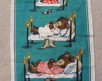 Towel Dunmoy // 3 Bears Vintage Novelty Cotton Linen Kitchen Hand Towel