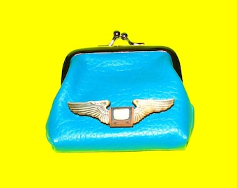 Flying Television Pilot Wings Weird and Kitschy Bold Blue Leather Luxe Kisslock Coin Purse