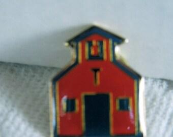 Vintage Metal Vest, Hat or Lapel Pin, Old School House