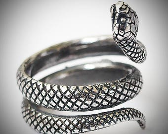 Snake ring for women or men, Silver plated brass serpent jewelry, Size 4,5 - 7 US