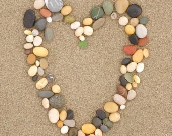 Hafa Adai, Guam - Stone Heart on Sand (dark) - Lantern Press Photography (Art Print - Multiple Sizes Available)
