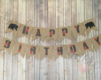 Lumberjack Birthday Banner, Hunter Plaid Birthday Banner, Camping Birthday Banner, Happy Birthday Banner, Lumberjack Decor, Party Decor