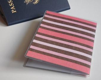 Pink Passport Cover, Brown & Pink Stripes, Passport  Sleeve, Case, Holder