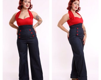 Land Ahoy - 40s Denim Wide Leg Jeans - Navy Buttons - ON SALE ! Size 16