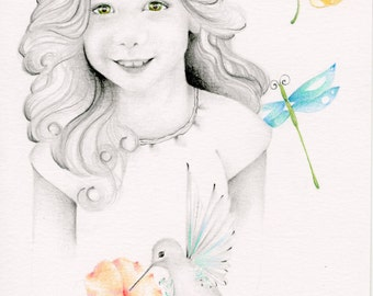 Custom Portrait Drawing 5 x 7 Small Kids Portrait Hand Drawn Personalized Mom Gift Portrait Wall Art Pencil Portraits from Your Photo Art