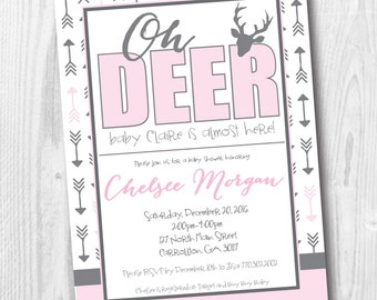 Oh Deer Baby Girl Shower Invitation - Country Rustic Arrows Grey and Baby Soft Pink