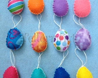 1 Dozen Handmade Felt Mini Easter Ornaments Eggs
