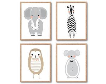 Baby Nursery Decor, Safari Animal Print, Baby Elephant, Baby Owl, Baby Mouse, Baby Zebra, Animal art print, PRINT SET, Baby Animal
