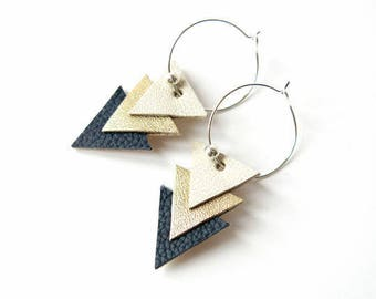 Earrings Geometric Hoops Leather, Triangles, Golden Blue
