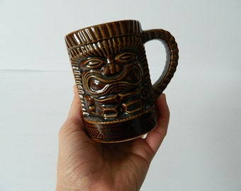 Vintage Orchids of Hawaii Tiki Mug - Low Ball Ku Mug with Handle - Japan R-12