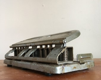 Industrial Chic. Mutual Centamatic 2 to 4 Hole Punch. Model 300. Worcester, Mass. Made in USA.