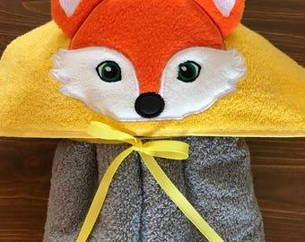 Fox Hooded Towel -Hooded Towel - Towel - Child's Hooded Towel - Fox Towel - REDROCKCRAFTSWY
