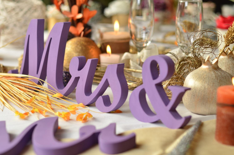 Purple wedding centerpiece glitter sign mr mrs wedding zoom junglespirit Gallery