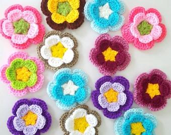 "12 pcs Crochet Flowers Handmade Applique Embellishment sewing in multi-color size 2.5 """
