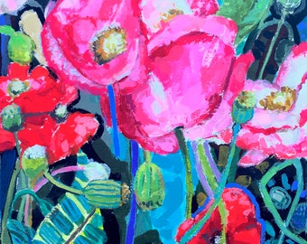 Hot Pink Poppies on Teal original painting