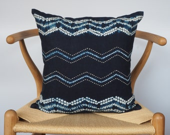 Shibori Mudcloth Pillow, 16x16 Handmade Blue Linen Pillowcase, Boho Home Decor, Indigo Tie Dye Pillow Covers, Decorative Pillows Rustic Gift