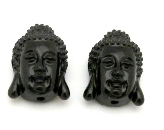 2 BEADS - Beautiful Black color resin  Buddha beads - BD657