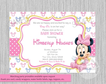 PRINTED or Digital Disney Baby Minnie Mouse Baby Shower