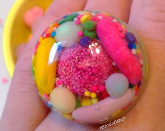 Kawaii Candy Ring - Candy Ring - Kawaii Jewelry - Candy Jewelry - Pastel Jewelry - Food Jewelry - Plastic Jewelry - Candy Resin Ring -