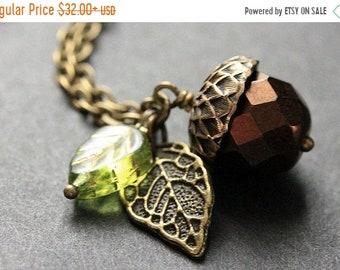 SUMMER SALE Dark Brown Acorn Necklace. Crystal Acorn Necklace. Acorn Charm Necklace in Bronze. Handmade Jewelry.