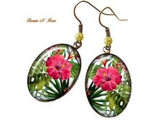 Earrings * tropical flowers * Pink Pearl green costume jewelry gift