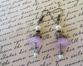 Purple Lucite Flowers And Glass Pearls Drop Earrings