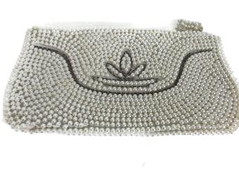 Japan Bead Purse Off White Pearls Seed Beads Vintage Handbag Vintage Purse Bridal Bag Evening Bag Wedding Vintage Accessories