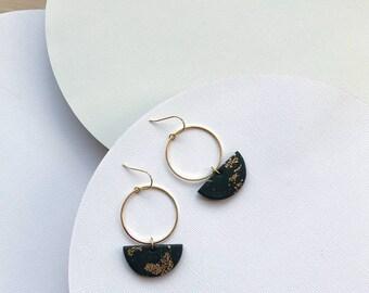 Minimalist earrings Black earrings Dangle earrings Open circle earrings Polymer clay jewelry Half moon earrings Gifts-for-sister