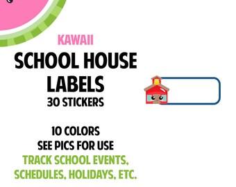 New! KAWAII School House Label Stickers | 30 Kiss-Cut Stickers | School Events, School Activities, Schedules | LB260