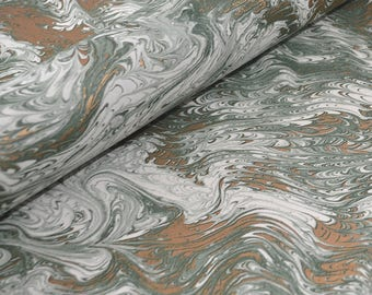 Traditional Marbled Style Italian Paper - Green and Gold Marble