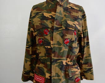 Vintage Reworked Camouflage Jacket with Patches Supreme/Lord/ LV/Sequins patches/Patched Camo Military Jacket/Parka/Size: L Adult New w tags