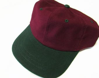 Burgundy Red and Hunter Green Two Toned Ball Cap Hat Cotton Twill Monogrammed Custom Embroidery for men or women
