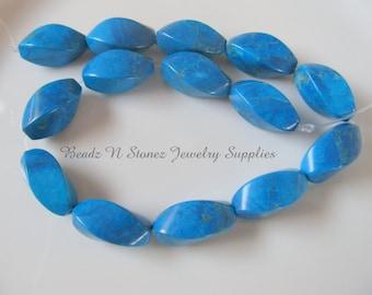 Full Strand Blue Howlite 8x20mm Twist Beads