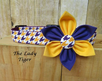 Purple and Gold, LSU Team Pride - The Lady Tiger Flower Dog Collar with Removable Flower