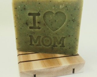 Mothers Day Gift Soap Set - I heart Mom - Mother's Day Herbal Scrubby soap - Mothers day gift - gift for mom - no palm oil - plastic free