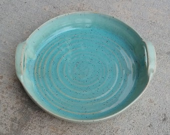 Handmade pottery platter / serving platter / platter with handles / gift / stoneware / ceramic / wheelthrown / one of a kind