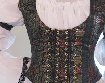 DDNJ Choose Fabrics Fully Reversible Demi Bodice Style Side Laced Corset Plus Custom Made ANY Size Renaissance Pirate Anime Costume Medieval