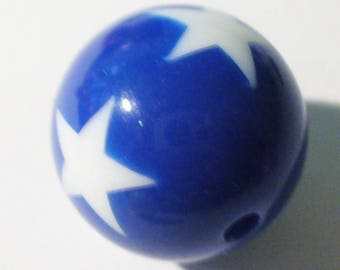 1 round Pearl Royal Blue and white 20mm AR362 Blue Star