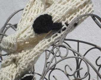ivory crochetted scarf for winter,with black flowers